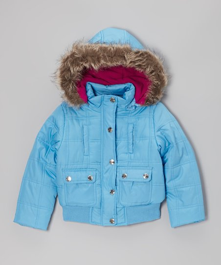 Ice Blue Hooded Puffer Jacket - Toddler & Girls