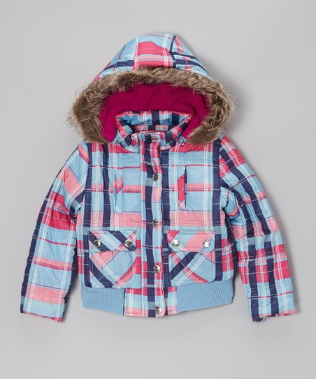 Ice Blue Plaid Hooded Puffer Jacket - Toddler & Girls