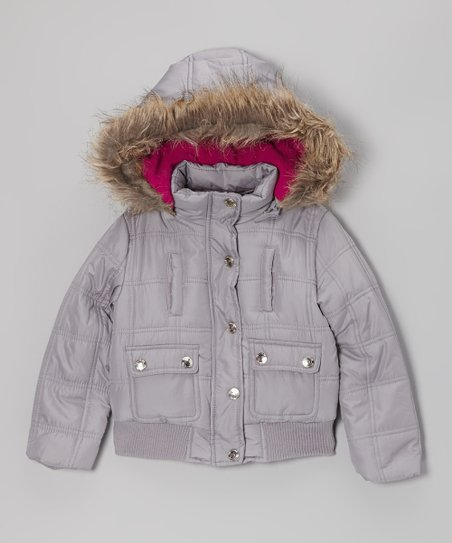 Silver Hooded Puffer Jacket - Girls