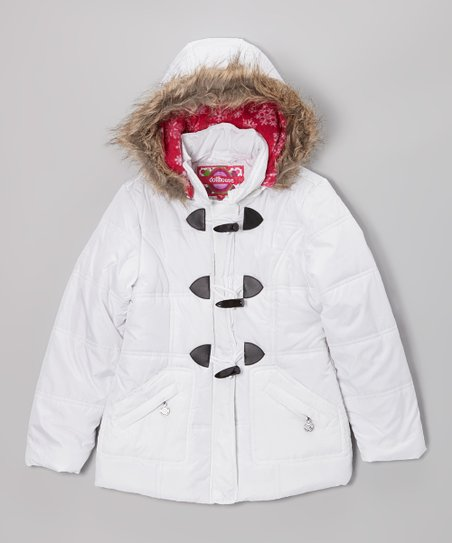 White Toggle Hooded Puffer Jacket - Toddler & Girls