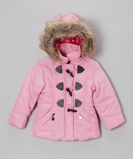 Pink Toggle Hooded Puffer Jacket - Toddler