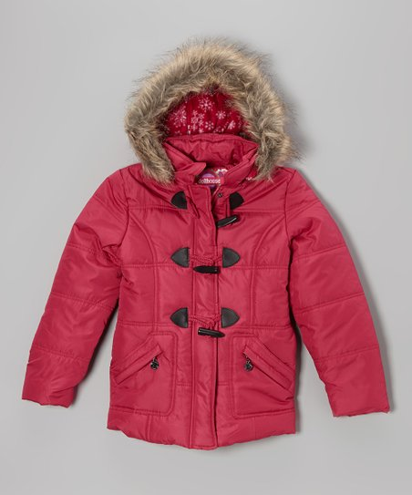 Raspberry Toggle Hooded Puffer Jacket - Girls