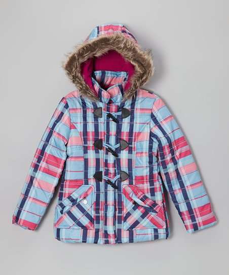 Ice Blue Plaid Toggle Hooded Puffer Jacket - Toddler