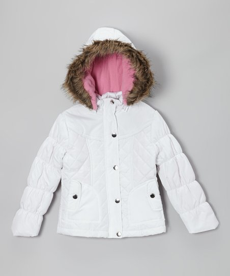 White Quilted Hooded Puffer Jacket - Toddler & Girls
