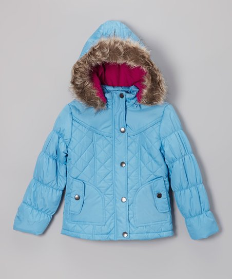 Ice Blue Quilted Hooded Puffer Jacket - Girls