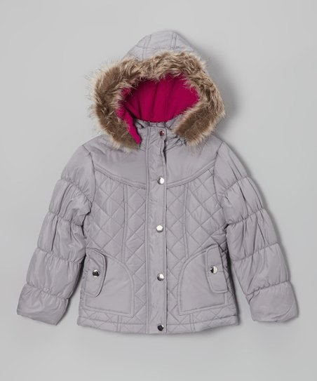 Silver Quilted Hooded Puffer Jacket - Girls