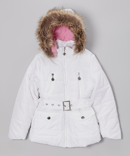 White Long Hooded Puffer Jacket - Toddler & Girls
