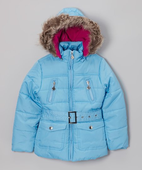 Ice Blue Long Hooded Puffer Jacket - Toddler & Girls