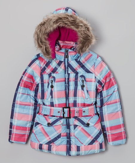 Ice Blue Plaid Long Hooded Puffer Jacket - Toddler