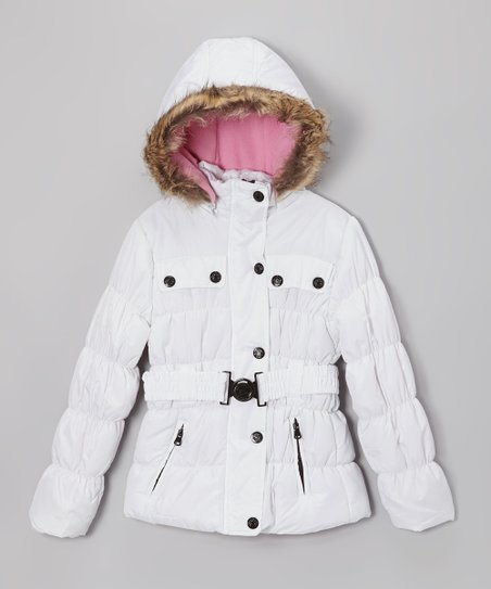 White Belted Hooded Puffer Jacket - Girls