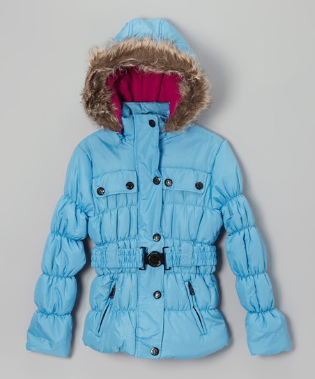 Ice Blue Belted Hooded Puffer Jacket - Toddler