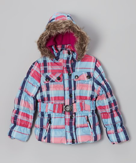 Ice Blue Plaid Belted Hooded Puffer Jacket - Toddler & Girls