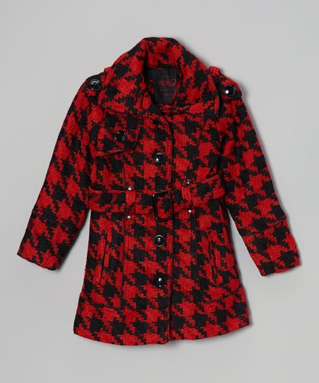 Black & Red Houndstooth Coat - Girls