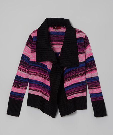 Black Thorn & Rose Stripe Cardigan - Toddler & Girls