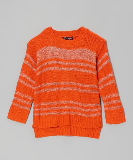 Poppy Orange & Silver Stripe Mock Neck Sweater - Toddler
