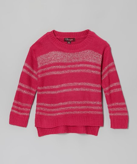 Fuchsia & Silver Stripe Mock Neck Sweater - Toddler