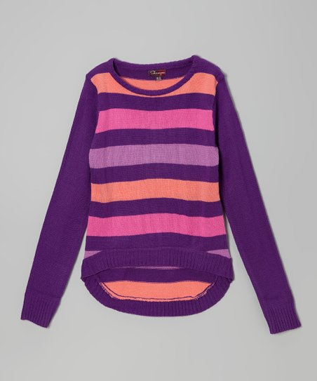 Purple & Rose Stripe Hi-Low Sweater - Toddler & Girls