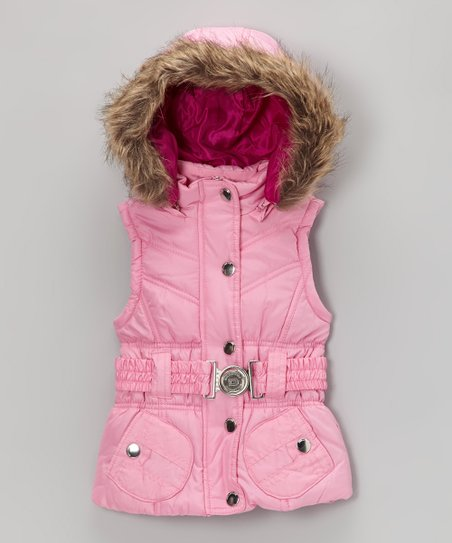 Pink Belted Hooded Puffer Vest - Toddler & Girls