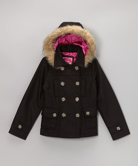 Black Hooded Peacoat - Toddler & Girls