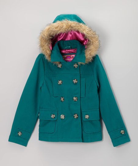 Teal Hooded Peacoat - Girls