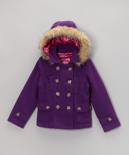 Purple Hooded Peacoat - Girls
