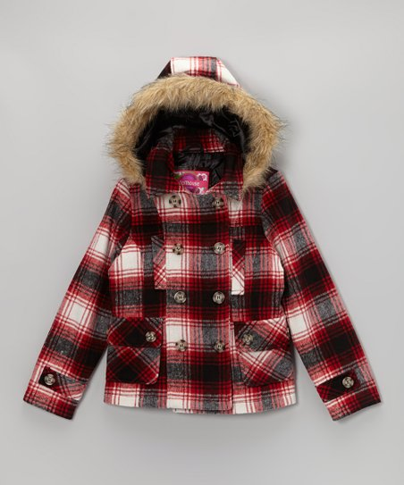 Tommy Plaid Hooded Peacoat - Toddler & Girls