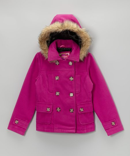 Raspberry Hooded Peacoat - Toddler & Girls