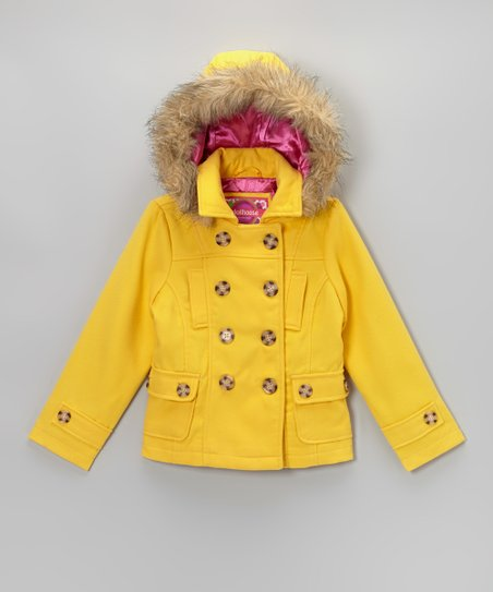 Yellow Hooded Peacoat - Girls