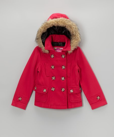 Virtual Pink Hooded Peacoat - Toddler & Girls