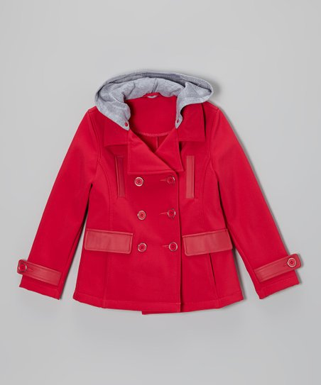 Virtual Pink Faux Leather-Trim Hooded Peacoat - Toddler & Girls