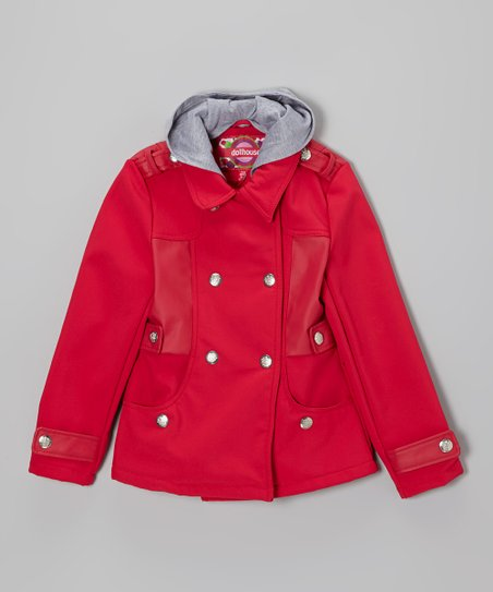 Virtual Pink Hooded Military Coat - Toddler & Girls