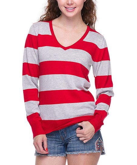 Red & Light Gray Stripe V-Neck Sweater