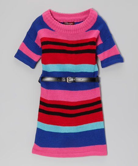 Rose Revival & Ultramarine Belted Sweater Dress - Toddler & Girls