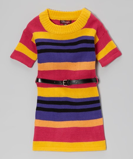 Bright Maze & Fall Fuchsia Belted Sweater Dress - Toddler & Girls