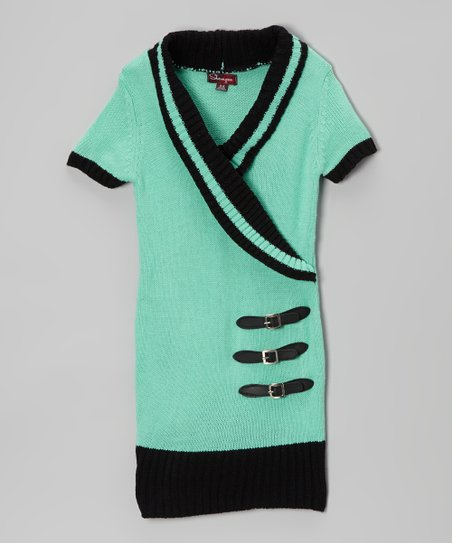 Jade Ice & Black Shawl Collar Sweater Dress - Toddler
