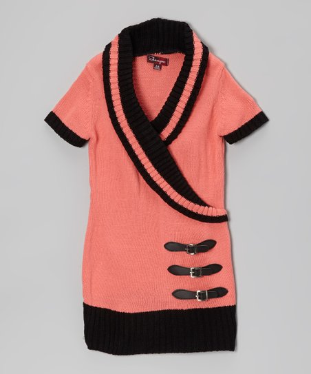 Rosy Cheeks & Black Shawl Collar Sweater Dress - Toddler