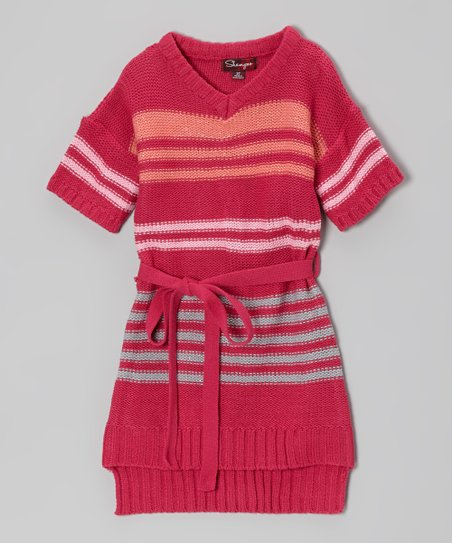 Fuchsia & Rosy Cheeks Sash-Tie Sweater Dress - Toddler & Girls