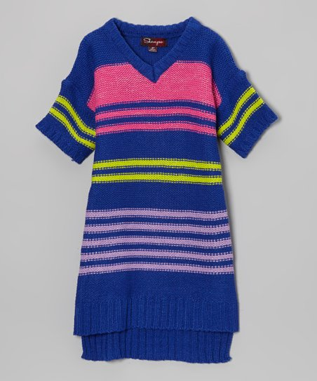 Ultramarine & Rose Sash-Tie Sweater Dress - Toddler & Girls