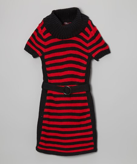 Lollipop Red & Blackthorn Stripe Belted Cowl Neck Dress - Girls