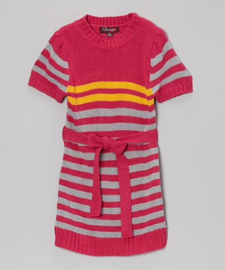 Fuchsia & Glacier Stripe Belted Sweater Dress - Toddler & Girls