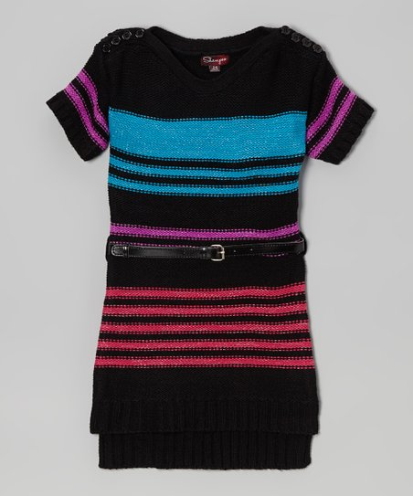 Blackthorn & Azure Stripe Belted Sweater Dress - Toddler & Girls