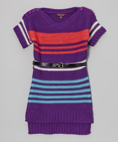 Purple & Coral Stripe Belted Sweater Dress - Toddler & Girls
