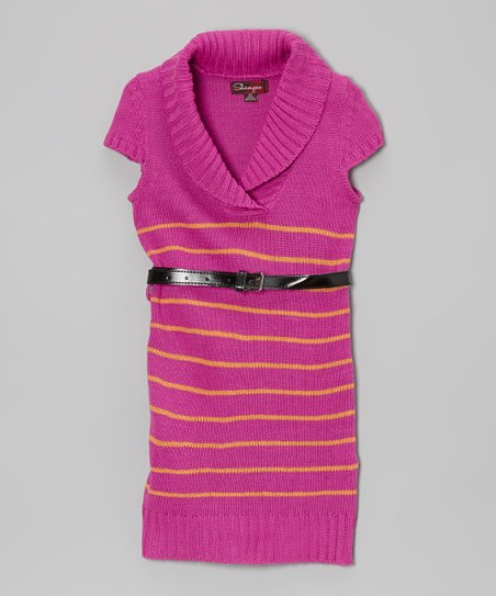 Bright Raspberry Belted Shawl Collar Dress - Toddler & Girls