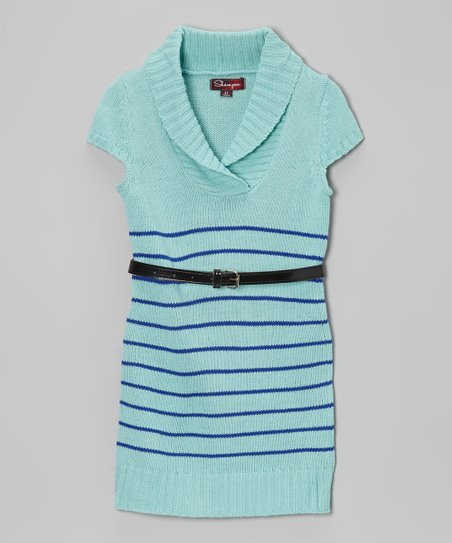 Frosty Turquoise Belted Shawl Collar Dress - Toddler & Girls
