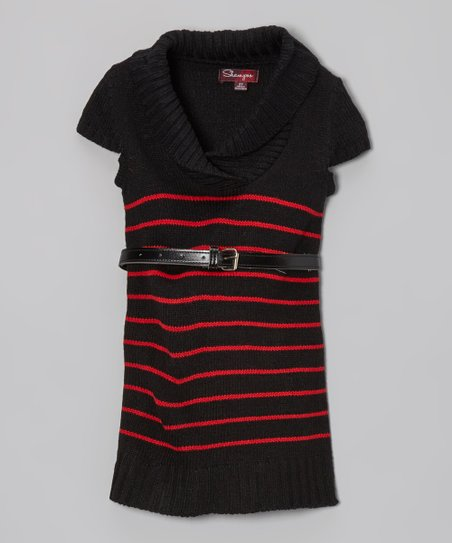 Blackthorn Stripe Belted Shawl Collar Dress - Toddler & Girls