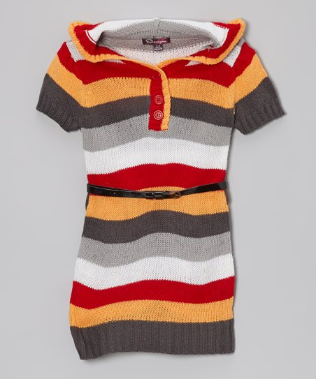 Red & Pumpkin Stripe Hooded Sweater Dress - Toddler