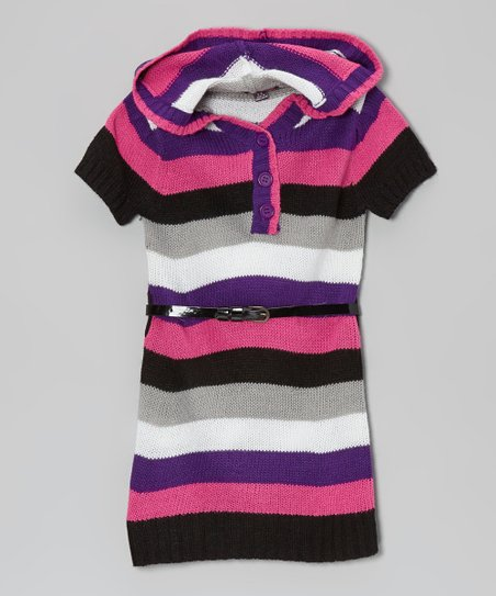 Stark Purple & Rose Hooded Sweater Dress - Toddler