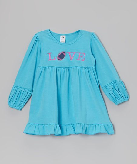 Blue Football 'Love' Babydoll Tunic - Toddler & Girls
