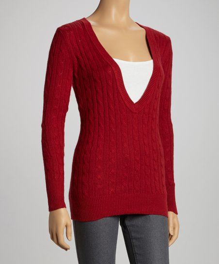 Red Cable Deep V-Neck Sweater - Women