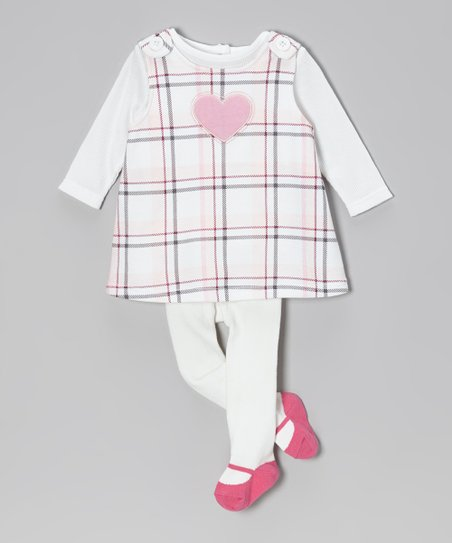 Pink & White Plaid Heart Jumper Set - Infant